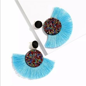 Nip Blue bohemian fringe&multigem colored earrings